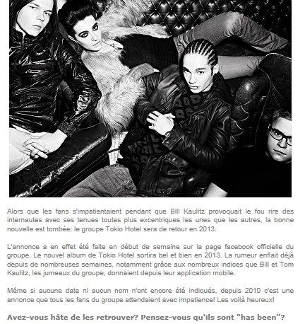 Gossip.fr : Tokio Hotel: Ils annoncent leur grand retour !