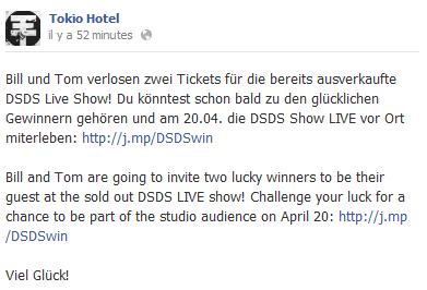 Facebook - Tokio Hotel (9 Avril)