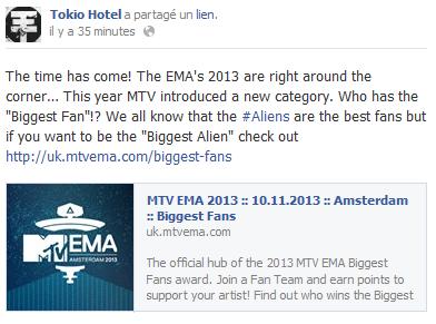 Fcebook - Tokio Hotel (31 Août)