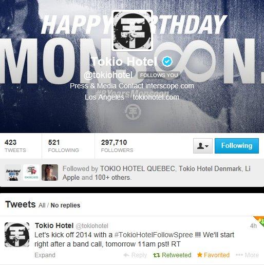 Twitter: Tokio Hotel Follow Spree :-)