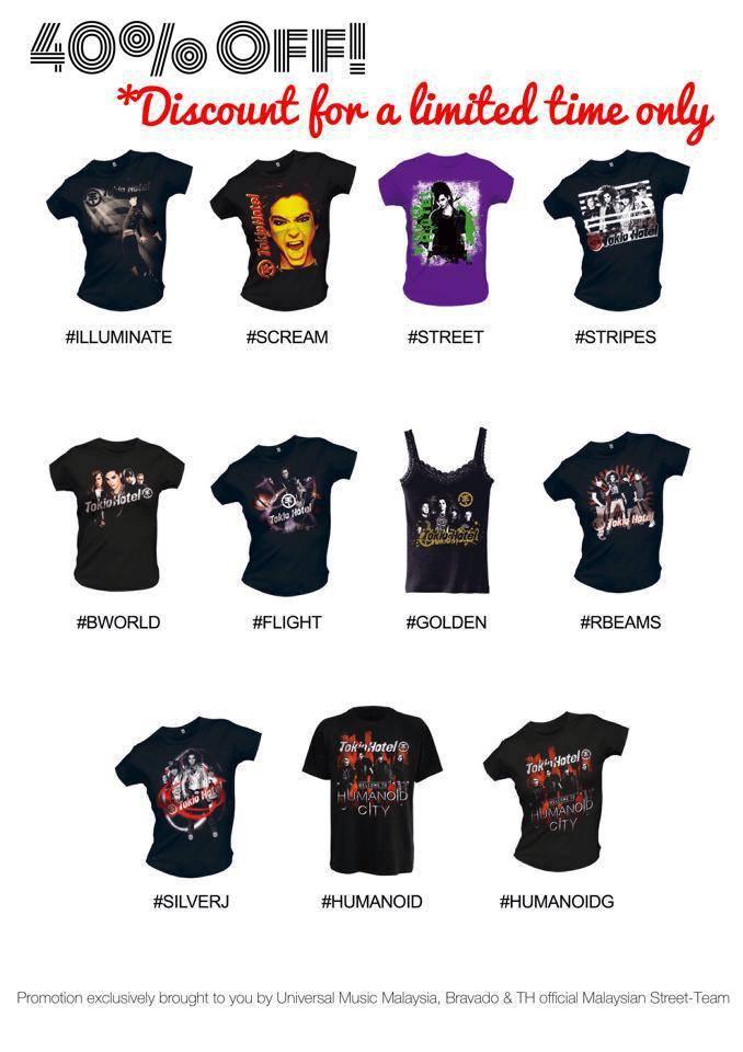 Promotion de Tshirts Tokio Hotel !