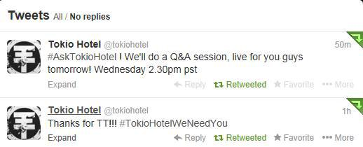 Twitter -  Tokio Hotel (28 janvier)