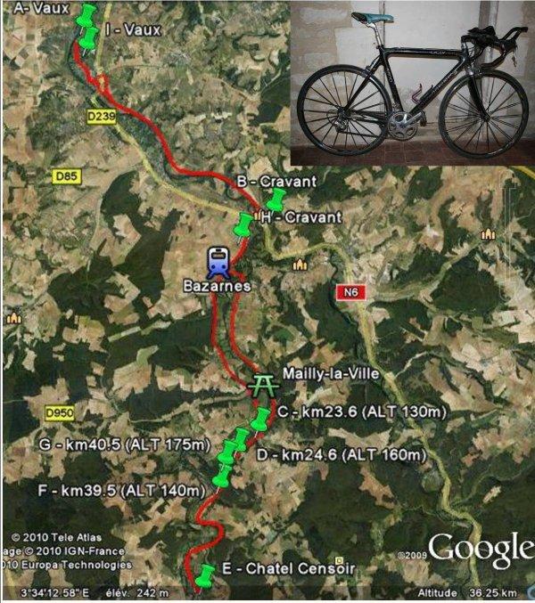 Samedi 14 mai 2011, test à vélo sur 67km et nouveau record !