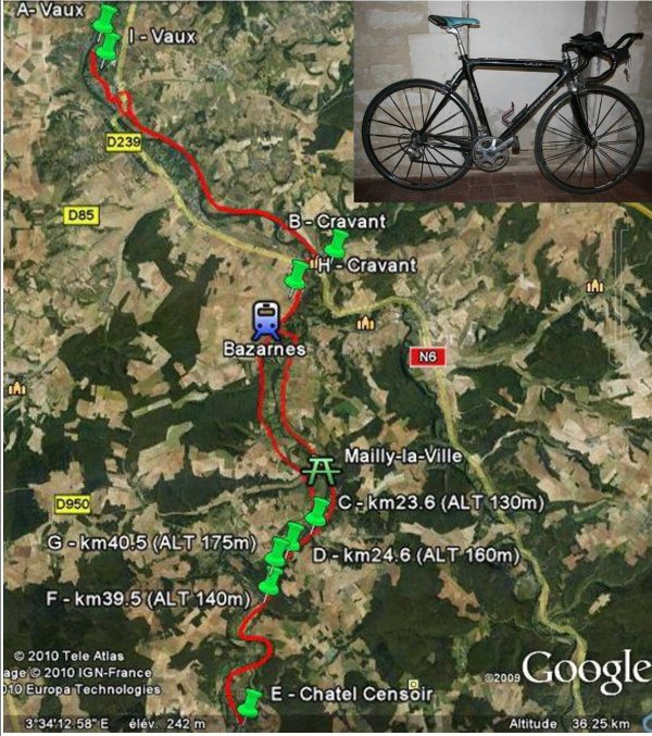 mercredi 15 juin, test vélo sur 67km, nouveau record !
