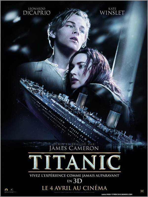 . Titanic en 3D : Avis de la webmiss ! (:  . J'ai trouvé le film encore plus beau avec la 3D. Cette sensation qu'on a quand on regarde le film, ont a l'impréssion d'être a bord du Titanic. Un meilleur son & de plus belles images. Toujours aussi émouvant.. Le film j'ai du le voir plus d'une 7O ième de fois, je connais toute les scène par coeur, dans le cinéma je parlais en même temps que les acteurs (dans ma tête bien sur). Puis.. a la fin, la scène qui fait pleuré tous le monde.. J'ai pleuré aussi, les larmes coulaient toutes seuls. De plus, un grand merci a James Cameron, car je trouve que c'est un bel hommage pour les 1OO ans du naufrage. James offre  une nouvelle génération de découvrir le film au cinéma ! ♥ .