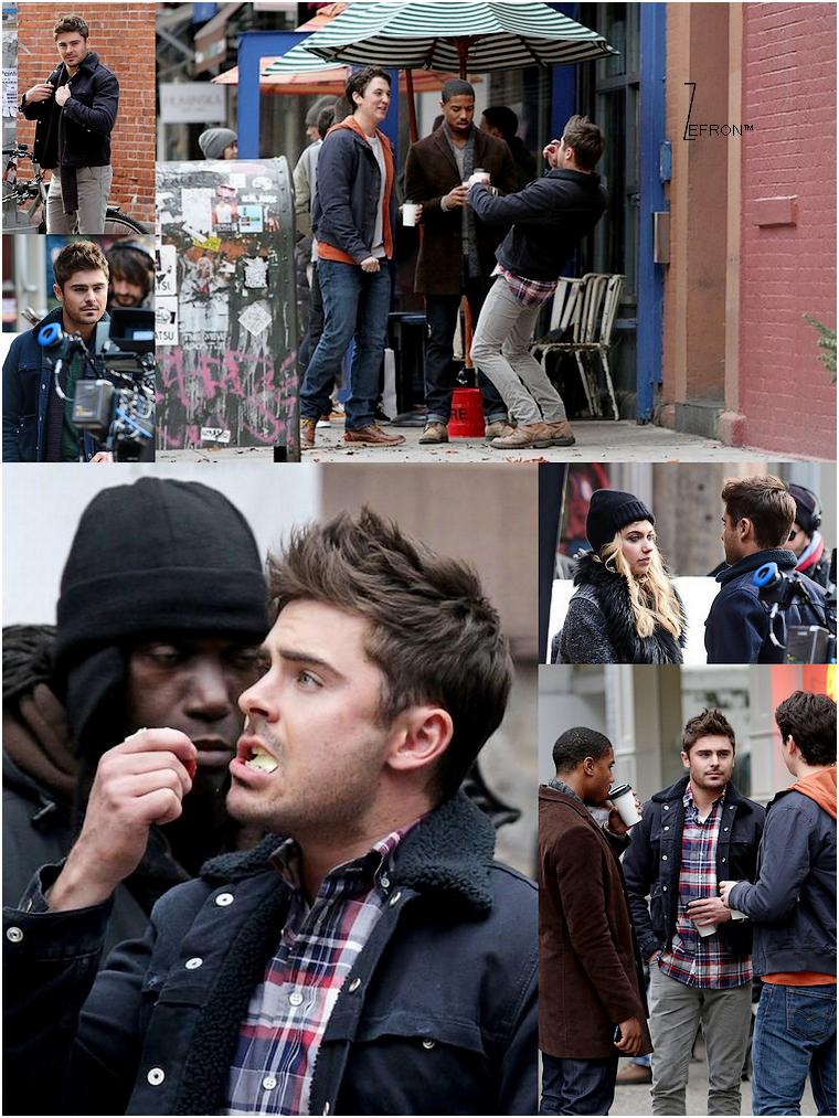 © ZEfron™  20.12.2012  - Encore de nouvelles photos de Zac et ses co-star sur le tournage d'AWOD? à New York.  @J: Zac buvant un café, Zac rigolant avec Miles, Zac mangeant une pomme, oui les pap's hier était très présent :D !