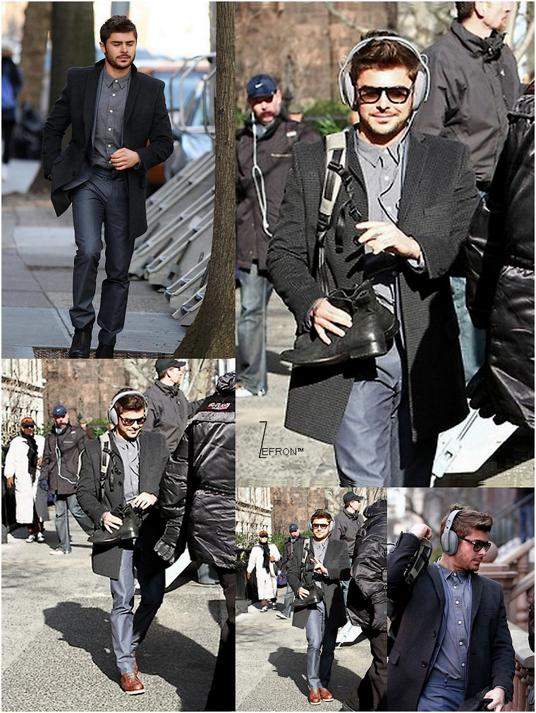 © ZEfron™  04.01.2012  -  Zac arrivant sur le Set de son Film Are We Officially Dating à New York.  @V: Si il pouvait tourner des Films tous les jours à New York sa serait bien.