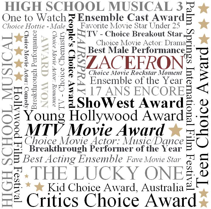 © ZEfron™  (ARTICLES SPÉCIAL) 07.01.2013  -  Il était une fois Zac Efron...  et les Awards 18 gagné pour 20 nominations