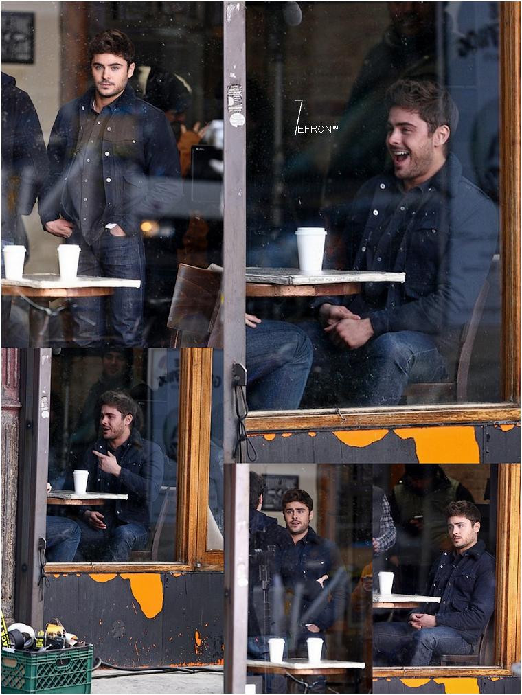 © ZEfron™  23.01.2013  -  Zac et sa co-star Miles de retour sur le tournage d'AWOD? à New York par -7°C.   @J: Rien de tel qu'un bon café et d'une paire de cache oreille pour réchauffer le beau Zacky ^^