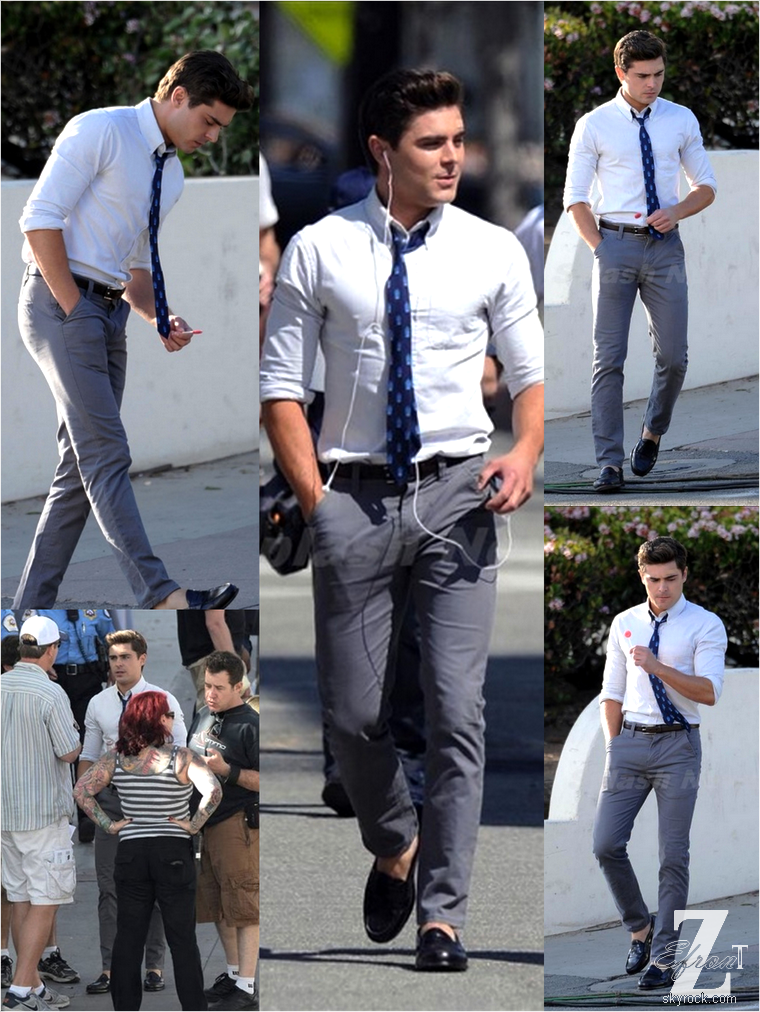 """© ZEfron™  (Ajout de photos le 06/04 à 03h35)  04.04.2013  -  Zac Efron et sa co-star Dave Franco sur le set du film """"Townies"""" à Los Angeles. @J: J'ai était méchante, finalement les pap's on retrouver les studio de L.A...  Candids de bon matin, de quoi assurer ma journée ^^"""