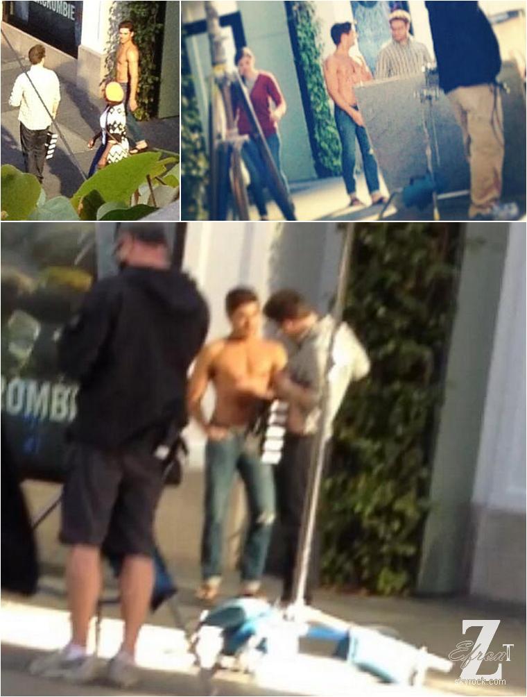 © ZEfron™    08.04.2013  -  Zac Efron de nouveau sur le tournage de son nouveau film Townies à Los Angeles. @J: Zac sexy, toujours sexy, mais même sur Zac le smoking + tong, ça fait louche :/ Et puis bien sur Zac torse nu, dans le film, une habitude ^^