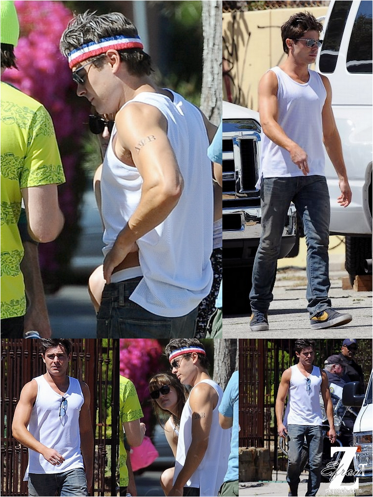 © ZEfron™    11.04.2013  -  Zac Efron et son faux tatouage de film,  sur le tournage de Townies à Los Angeles.  @V: Toujours aussi Classe Zac. @J: La première de At Any Price aura lieu le 16 Avril à Los Angeles en présence de tous les acteurs :D #GoodNews