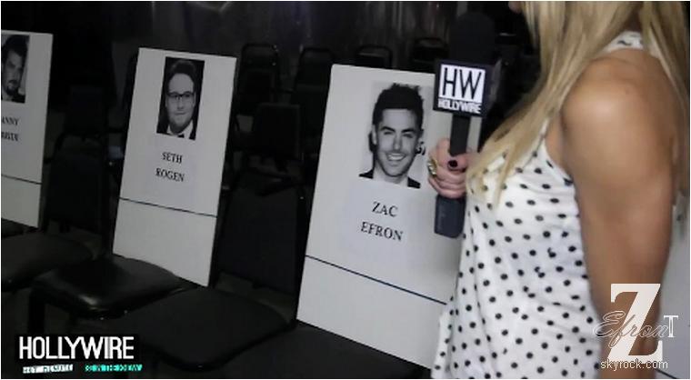 © ZEfron™    14.04.2013  -  Zac Efron est bel et bien attendu au MTV Movie Award 2013 ce soir comme nous le confirme ce reportage.  @J: Il sera au coté de sa co-star Seth Rogen et nous sauront certainement comment Zac c'est blesser sur le tournage de Townies jeudi dernier.
