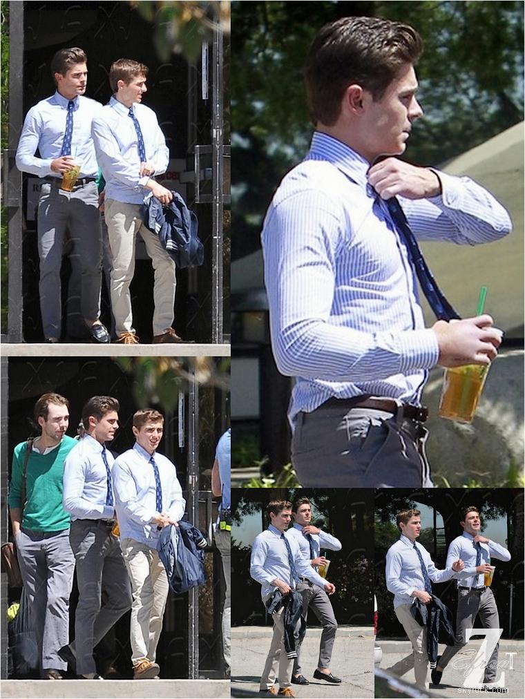 © ZEfron™    17.04.2013  -  Zac Efron et sa co-star Dave Franco sur le tournage de Townies à Los Angeles.  @J: Il faut remettre d'urgence un bandage à la main de Zac qui gonfle à vu d'½il au fil des jours...