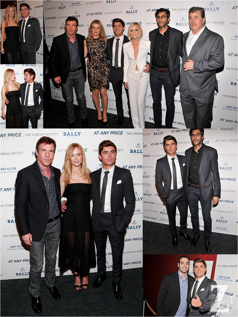 © ZEfron™  18.04.2013  -  Zac Efron et l'équipe du film At Any Price à la presentation du Film au Cinéma Society à New York.  @V: Toujours aussi classe et beau... @J: Séduisant comme à son habitude  ;)