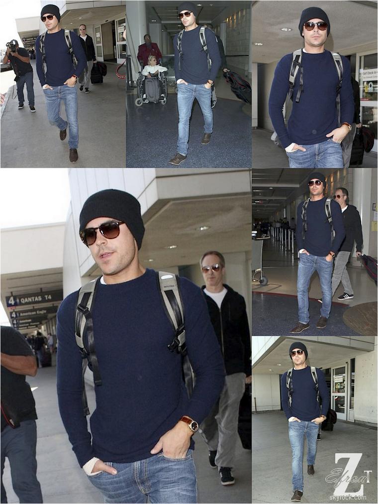 © ZEfron™  (Ajout de photos)  20.04.2013  -  Zac Efron qui rentre de son séjour à New York à l'aéroport LAX de Los Angeles.  @V: Même aprés un trajet en avion il est toujours aussi classe.