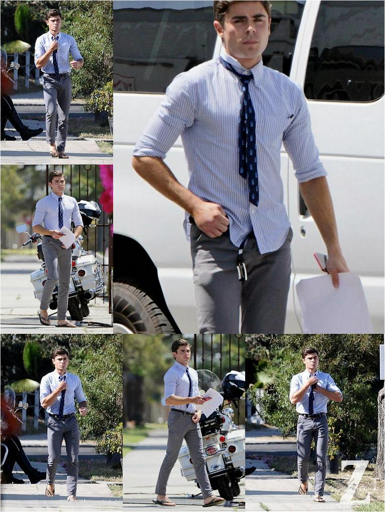 © ZEfron™  (Ajout de photos)  22.04.2013  -  Zac Efron et ses tongs déjà de retour sur le set de Townies à Los Angeles.  @J: Pas de bandage à la mains mais tous de même une mains moins gonflé :) .