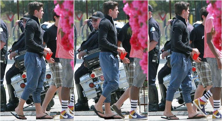 """© ZEfron™  (Ajout de photos)  23.04.2013  -  Zac en mode... """"n'importe quoi, n'importe quel style"""" sur le tournage de Townies à Los Angeles.  @J: On en parle des gout vestimentaire de la styliste du film ou bien... Tong + chemise cravate, peignoir bimbo + tatane ^^  Ce film est déjanter !!"""