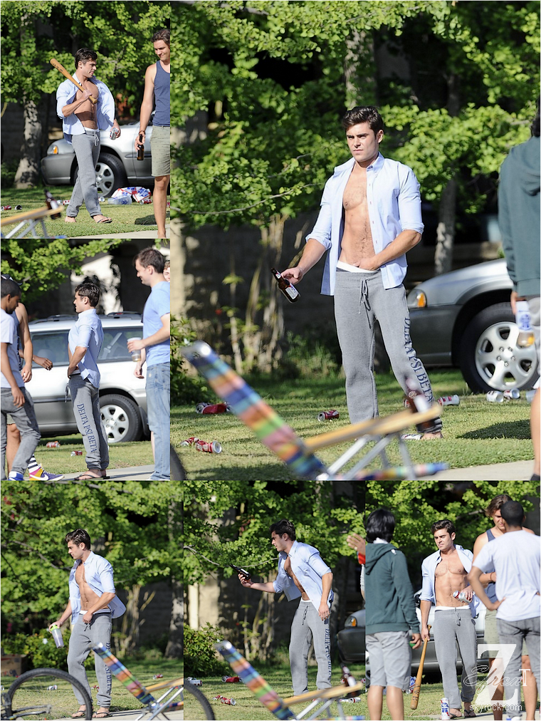 © ZEfron™  (Ajout de photos)  07.05.2013  -  Zac Efron faisant du basket, du baseball et du skate sur le tournage de From Here To Fraternity (Townies) à Los Angeles.  @V:  Je sens que je vais adore ce film.  @J: Des photos par milliers ;)