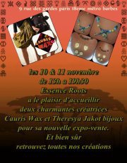 VENEZ NOMBREUX LE SAMEDI 10 ET DIMANCHE 11 à l'expo-vente CAURIS WAX chez Roots essence