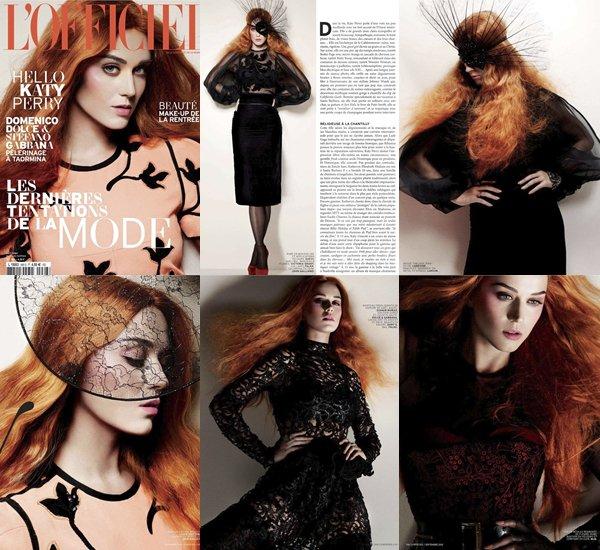 • Voici quelque scanes du magazine Français L'OFFICIEL LEVANT dans lequel Katy Perry fait la première page de couverture. ( Shooting réaliser par le Photographe Cuneyt Akeroglu ).