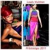 """# # Rihanna porte  une robe """" Louis Vuitton """" Collection  Printemps 2011 Remarque *  Voici encore un autre très beau clichée de l'édition de décembre du magazine Interview. Question stylisme, la chanteuse opte pour l'image  de la femme glamour. Relookée façon bourgeoise dévergondée, Rihanna prend la pose dans une belle robe ultra coloré griffée Louis Vuitton collection printemps 2011.  Alors ... Vos impressions ?"""