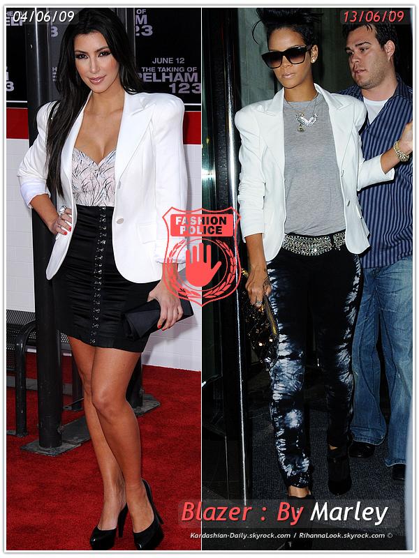 » Un air de déjà vu... Kim Kardashian et Rihanna ont craqué sur la  même veste ! Un détail qui n'a pas échappé à la Fashion Police de RihannaLook ! Alors ... votre préférence ?