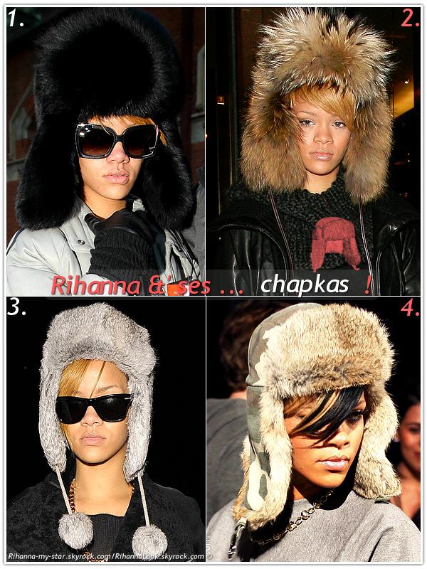 """» Voici quelques """" chapkas  """" que la chanteuse Rihanna a porté  : Choisissez votre  chapka    favorite !  Article  collaboration avec Rihanna-my-star"""