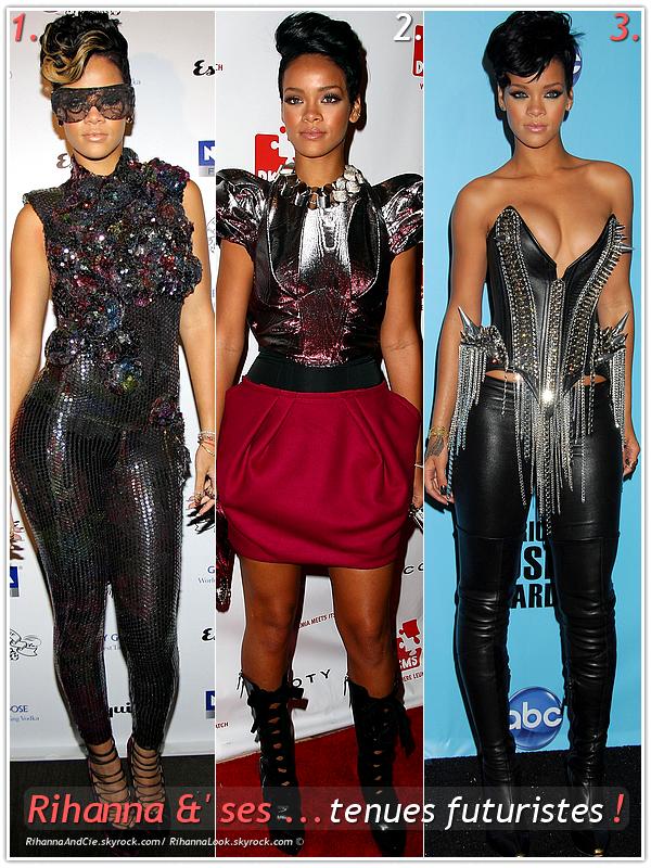 """» Voici différentes """" tenues futuristes  """" que la chanteuse Rihanna a porté  : Choisissez votre  tenue futuriste    favorite !  Article  collaboration avec RihannaAndCie"""