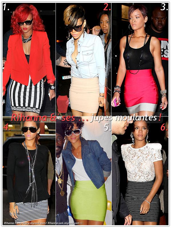 """» Voici quelques """" jupes moulantes  """" que la chanteuse Rihanna a porté  : Choisissez votre  jupe moulante    favorite !  Article  collaboration avec Rihanna-Fenty-Diary"""
