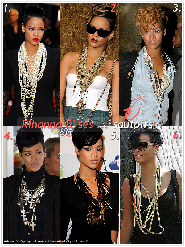 """» Voici quelques """" sautoirs  """" que la chanteuse Rihanna a porté  : Choisissez votre sautoir    favori !  Article  collaboration avec RihannaFentty"""