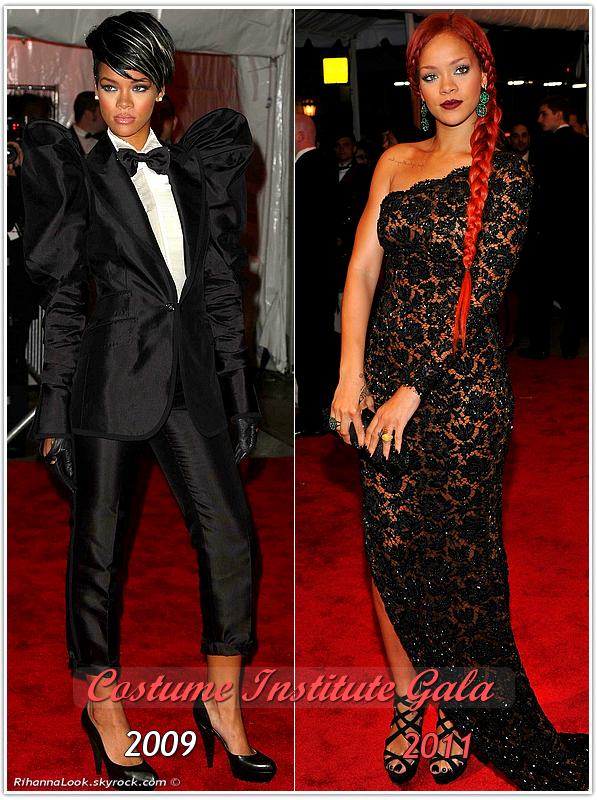 » Robyn Rihanna Fenty aux : Costume Institute Gala   . 2009 / 2011 ! Choisissez votre tenue favorite entre l'année  2009 et 2011.