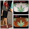 """# # Rihanna porte une pochette    """" Sylvia Toledano """" qui coûte   1,400 $ !  Remarque * Le 20 avril 2011, Rihanna s'est rendue au concert de Lauryn Hill à Los Angeles en compagnie de sa meilleure amie d'enfance : Mélissa. La belle Barbadienne arborait un look de véritable """"Rasta Queen"""", vêtue : d'un chemisier vert kaki avec rien dessous, d'un énorme collier en or Versace, d'une jupe noire, d'une paire d'escarpins Louboutin aux pieds, d'une magnifique pochette avec une feuille de cannabis ornée de diamants griffée Sylvia Toledano, d'une paire de lunettes de soleil  et d'un bonnet rasta  ample. Un style unique, qu'il lui va à merveille !"""