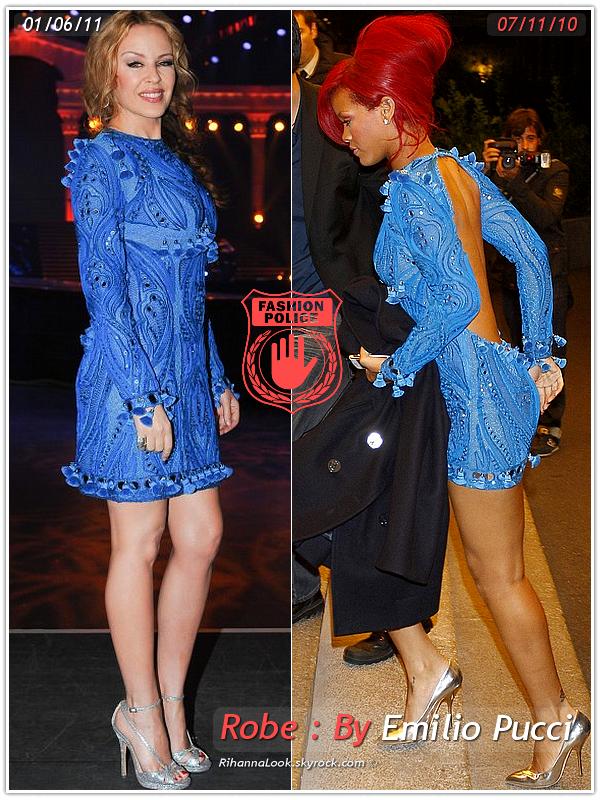 » Un air de déjà vu...  Kylie Minogue et Rihanna ont craqué sur la  même robe ! Un détail qui n'a pas échappé à la Fashion Police de RihannaLook ! Alors ... votre préférence ?