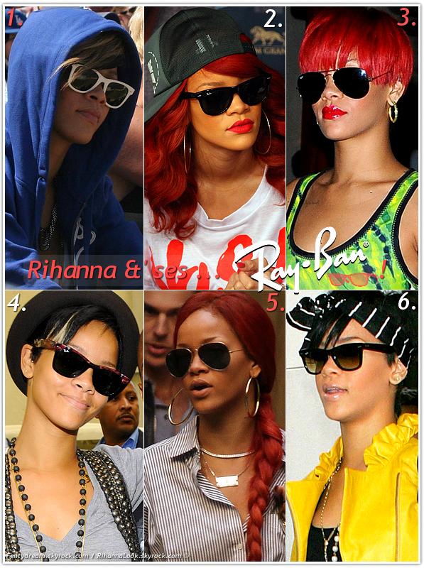 """»  Voici quelques """" Ray Ban """" que la chanteuse Rihanna a porté : Choisissez votre paire de Ray Ban  favorite !  Article  collaboration avec Fentydream"""