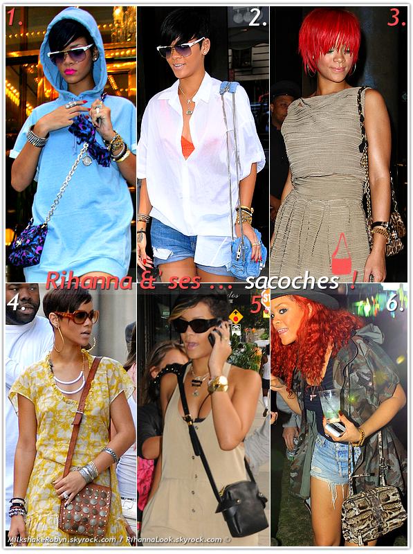 """»  Voici quelques """" sacoches """" que la chanteuse Rihanna a porté : Choisissez votre sacoche  favorite !  Article  collaboration avec MilkshakeRobyn"""