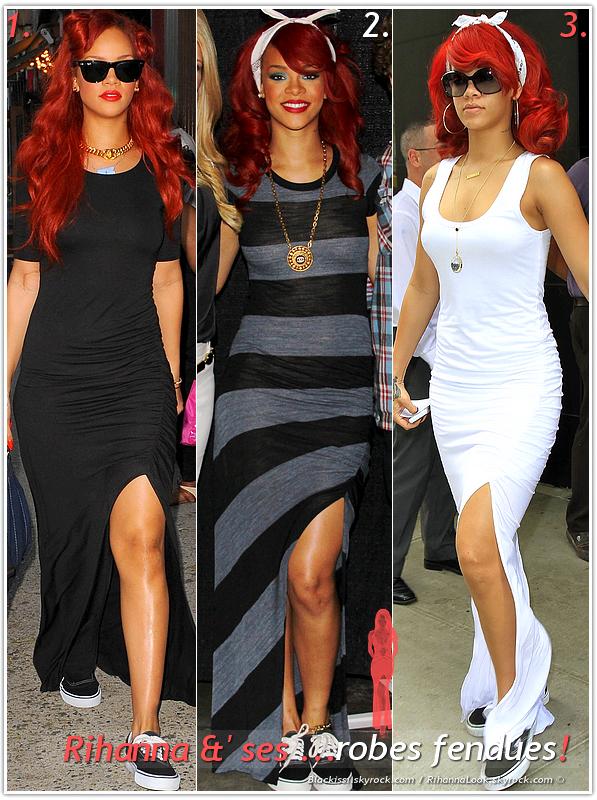 """» Voici quelques """" robes fendues  """" que la chanteuse Rihanna a porté  : Choisissez votre  robe fendue   favorite !  Article  collaboration avec Blackissi"""
