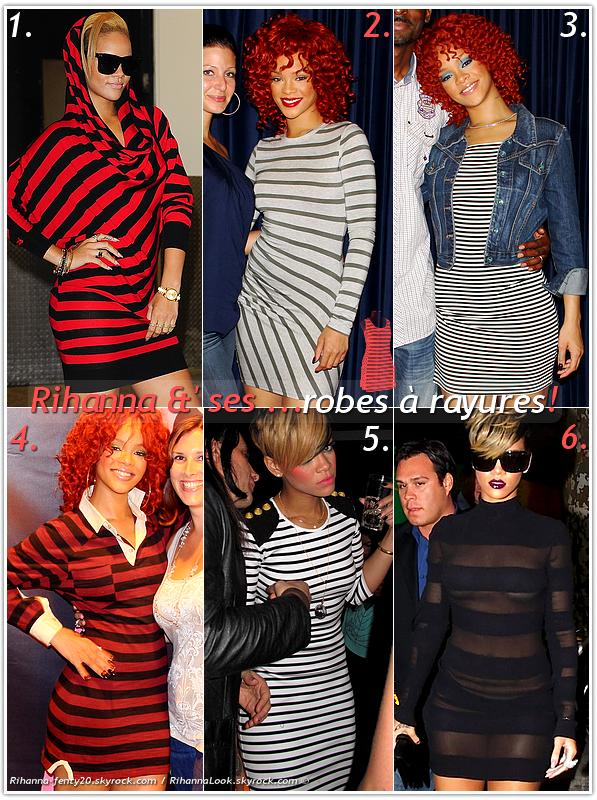 """» Voici quelques """" robes à rayures  """" que la chanteuse Rihanna a porté  : Choisissez votre  robe à rayures   favorite !  Article  collaboration avec Rihanna-fenty20"""