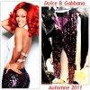 """# # Rihanna porte un pantalon    """" Dolce & Gabbana  """"  Automne 2011, une robe """" Vionnet  """"  Automne 2011 Remarque * Décidément, Rihanna est partout en ce moment !  Après plusieurs couvertures du Cosmopolitan, La chanteuse   fait la couverture de Glamour US de l'édition de septembre 2011. Un corps de rêve, un visage radieux et une belle crinière rouge, La jeune femme nous en fait voir de toutes les couleurs ! Plus   resplendissante  que jamais, La pop-star  prend la pose sous l'objectif de Ellen von Unwerth , dans un top blanc Dolce & Gabbana et un pantalon violet tout en sequins signé également Dolce & Gabbana pour la couverture du magazine. Sur un autre cliché, Rihanna porte une  robe en dentelle Vionnet dans un  décor très vintage en accord parfait avec sa tenue."""