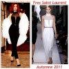 """# # Rihanna porte une combinaison   """" Yves Saint Laurent """" Collection Automne Remarque *  Toujours aussi glamour, Rihanna porte cette fois-çi une combi-pantalon Yves Saint Laurent, un grand manteau à plumes blanc signé également Yves Saint Laurent, une petite pochette noire, quelques bijoux et une paire d'escarpins Louboutin. D'ailleurs, Rihanna est élue femme de l'année par Vogue Italia et devrait faire bientôt la couverture du Vogue Britannique. Décidément, tous les magazines de mode s'arrachent la chanteuse !"""