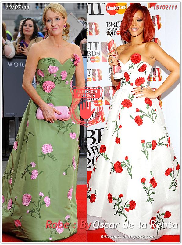 » Un air de déjà vu ... J.K. Rowling et Rihanna ont craqué sur la  même robe ! Un détail qui n'a pas échappé à la Fashion Police de RihannaLook ! Alors ... votre préférence ?
