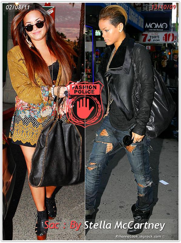 » Un air de déjà vu... Demi Lovato et Rihanna ont craqué sur le  même sac ! Un détail qui n'a pas échappé à la Fashion Police de RihannaLook ! Alors ... votre préférence ?