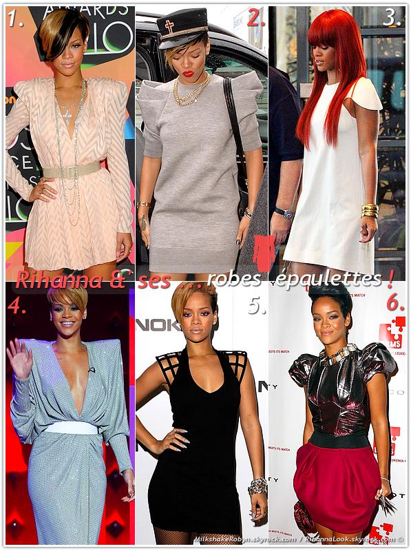 """» Voici quelques """" robes épaulettes  """" que la chanteuse Rihanna a porté  : Choisissez votre  robe épaulettes   favorite !  Article  collaboration avec MilkshakeRobyn"""