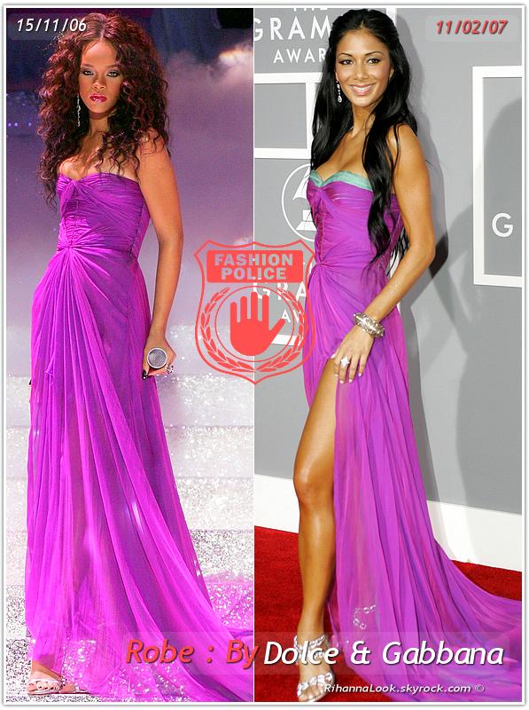 » Un air de déjà vu... Rihanna et Nicole Scherzinger ont craqué sur la  même robe ! Un détail qui n'a pas échappé à la Fashion Police de RihannaLook ! Alors ... votre préférence ?
