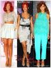 » Voici 3 tenues  que la chanteuse Rihanna a porté durant la promo de Reb' l Fleur  : Parmi ces trois différents looks  de Rihanna, Choisissez votre tenue   favorite !