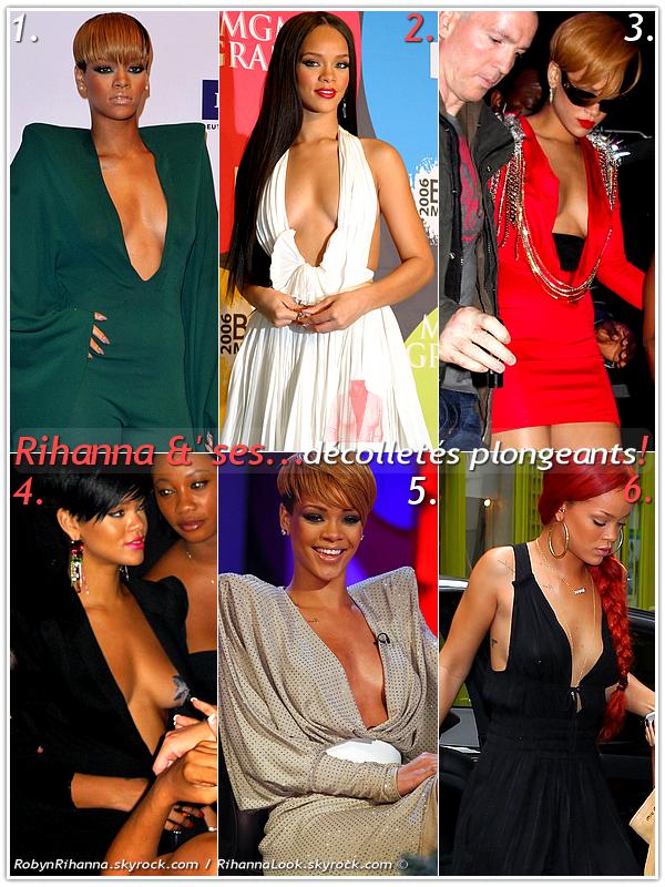 """» Voici quelques """" décolletés plongeants  """" que la chanteuse Rihanna a porté  : Choisissez votre  décolleté plongeant   favori !  Article  collaboration avec RobynRihanna"""