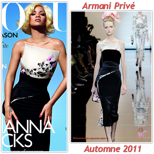 """# # Rihanna porte une robe """" Armani Privée """"  collection automne  2011  Remarque *  Ces derniers temps, on ne parle que d'elle, tous les magazines de mode s'arrachent la chanteuse ! Rihanna fait la couverture du Vogue U.K. en Marylin, dans une ravissante robe Armani Privée tirée de la collection automne 2011 (dont elle est égérie pour Armani Jeans). La jeune femme est presque méconnaissable, un véritable caméléon !"""