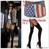 """# # Rihanna porte un short """" TopShop """"  qui coûte 32£ !, des collants   """" H O H """"  qui coûte 12£! Remarque *  Quand Rihanna décide de mettre le paquet, elle ne le fait pas à moitié. Le 13 octobre 2011, Rihanna a été aperçue à la sortie d'un restaurant japonais de Londres, le Nozomi situé dans le quartier de Knightsbridge, dans un look dès plus audacieux ! La chanteuse portait : une veste en jean, une veste sans manches en fourrure par dessus, un petit short aux couleurs du drapeau américain TopShop, des collants faux porte-jarretelles House of hollande et ses talons Louboutin vertigineux."""