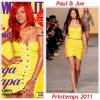 """# # Rihanna porte une robe """" Paul & Joe """"  collection printemps / été 2011Remarque *  Voici Rihanna sur la couverture du numéro de novembre du Cosmopolitain version espagnol . Et c'est dans une robe jaune canari griffée Paul & Joe que la belle est photographiée plus sexy que jamais. On se demande bien ce qui pourrait lui résister ?"""