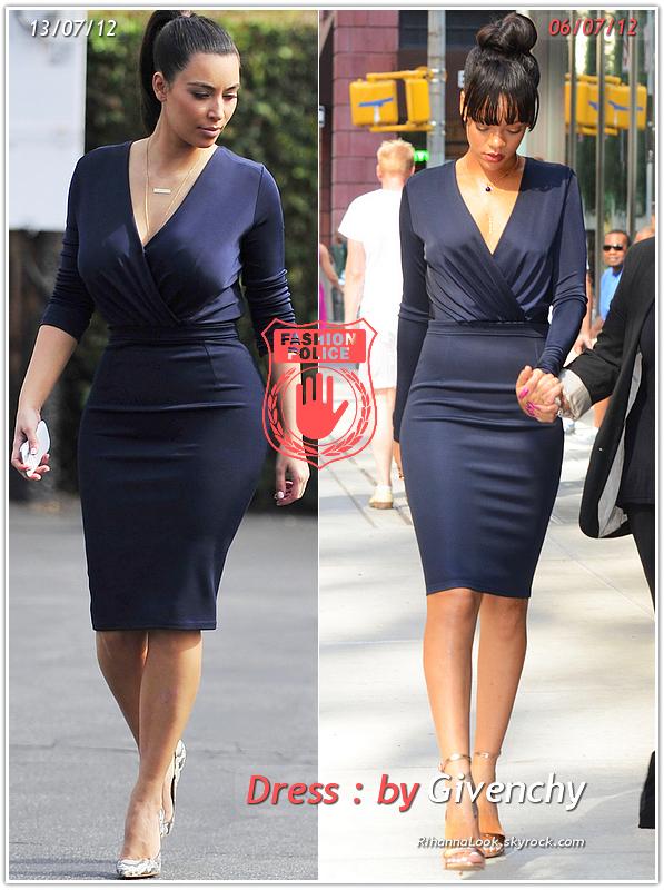 » Un air de déjà vu... Rihanna et Kim Kardashian ont craqué sur la  même robe ! Un détail qui n'a pas échappé à la Fashion Police de RihannaLook ! Alors ... votre préférence ?